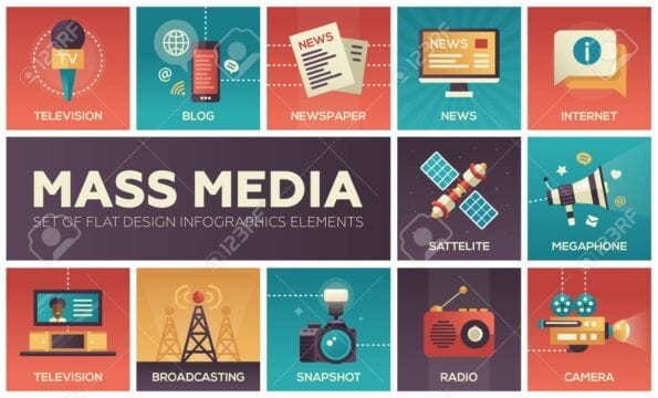 60186243 set of modern vector flat design mass media icons and mass media pictograms tv newspaper blog intern