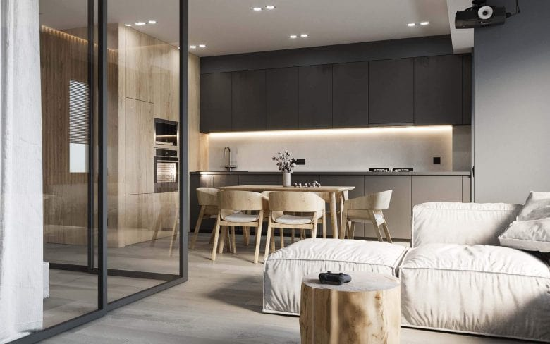 Living room with kitchen interior design min